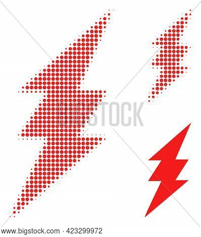 Electric Spark Halftone Dotted Icon. Halftone Pattern Contains Circle Pixels. Vector Illustration Of