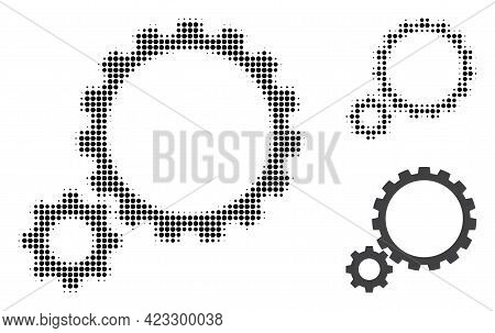 Gear Transmission Halftone Dotted Icon. Halftone Pattern Contains Circle Dots. Vector Illustration O