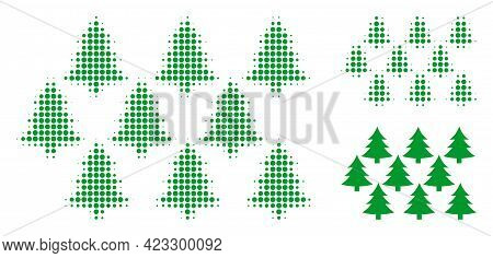 Fir Forest Halftone Dotted Icon. Halftone Pattern Contains Circle Pixels. Vector Illustration Of Fir