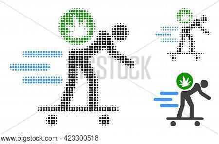 Express Cannabis Courier Halftone Dotted Icon. Halftone Pattern Contains Circle Elements. Vector Ill