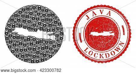 Vector Mosaic Java Island Map Of Locks And Grunge Lockdown Stamp. Mosaic Geographic Java Island Map