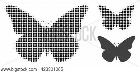 Butterfly Halftone Dotted Icon. Halftone Pattern Contains Round Elements. Vector Illustration Of But