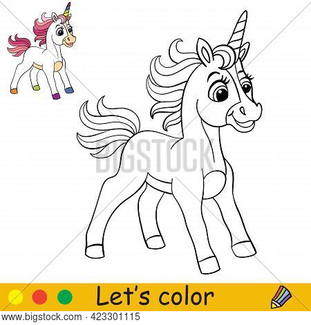 Cartoon Cute Standing Curious Unicorn With Pink Mane. Coloring Book Page With Colorful Template For