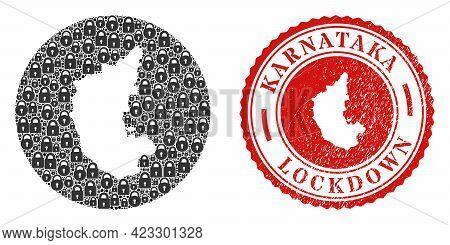 Vector Mosaic Karnataka State Map Of Locks And Grunge Lockdown Seal Stamp. Mosaic Geographic Karnata