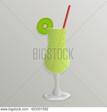 Milkshake With Kiwi In A Glass Goblet With A Straw