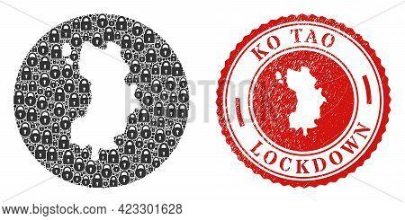 Vector Mosaic Ko Tao Map Of Locks And Grunge Lockdown Seal Stamp. Mosaic Geographic Ko Tao Map Const