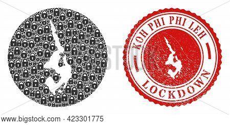 Vector Mosaic Koh Phi Leh Map Of Locks And Grunge Lockdown Stamp. Mosaic Geographic Koh Phi Leh Map