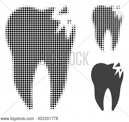 Cracked Tooth Halftone Dotted Icon. Halftone Pattern Contains Circle Pixels. Vector Illustration Of