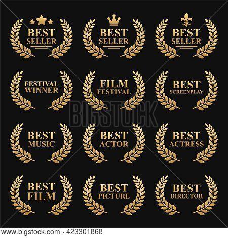 Film Festival Gold Award Set With Laurel Wreath On Black. Best Seller Vector
