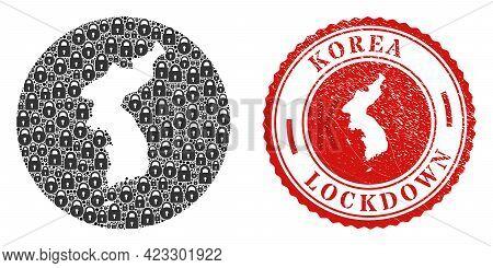 Vector Mosaic Korea Map Of Locks And Grunge Lockdown Stamp. Mosaic Geographic Korea Map Created As C