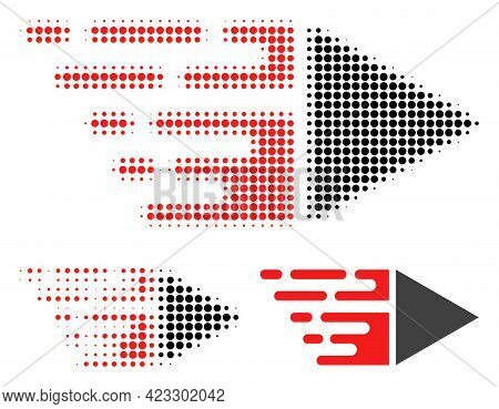 Motion Halftone Dotted Icon. Halftone Pattern Contains Circle Points. Vector Illustration Of Motion