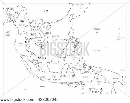 Political Map Of Southeast Asia. Black Outline Hand-drawn Cartoon Style Illustrated Map With Bathyme