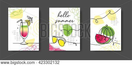 Hello Summer Poster, Illustrations Set For Cafe Or Kitchen. Watermelon, Cocktail, Drink, Sunglasses