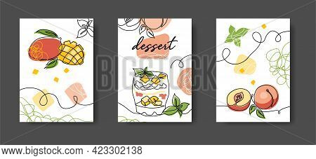 Fruits Dessert Minimal One Line Poster. Wall Lineart Decoration. Set Of Vector Illustrations Of Mang