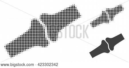 Bone Joint Halftone Dotted Icon. Halftone Array Contains Round Points. Vector Illustration Of Bone J