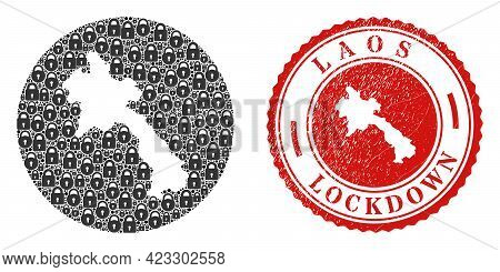 Vector Collage Laos Map Of Locks And Grunge Lockdown Stamp. Mosaic Geographic Laos Map Constructed A