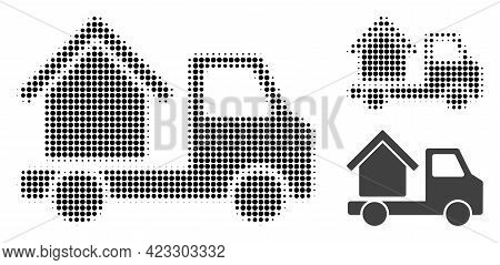 House Trailer Halftone Dotted Icon. Halftone Pattern Contains Round Dots. Vector Illustration Of Hou