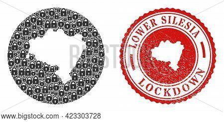 Vector Mosaic Lower Silesian Voivodeship Map Of Locks And Grunge Lockdown Stamp. Mosaic Geographic L