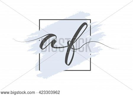 Calligraphic Lowercase Letters Af On A Colored Background In A Frame. Simple Style