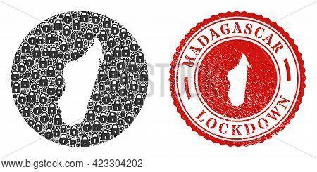 Vector Mosaic Madagascar Island Map Of Locks And Grunge Lockdown Seal Stamp. Mosaic Geographic Madag