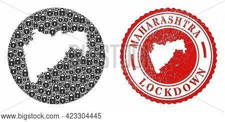 Vector Mosaic Maharashtra State Map Of Locks And Grunge Lockdown Seal Stamp. Mosaic Geographic Mahar