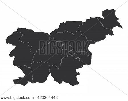 Grey Political Map Of Slovenia. Administrative Divisions - Statistical Regions. Simple Flat Blank Ve