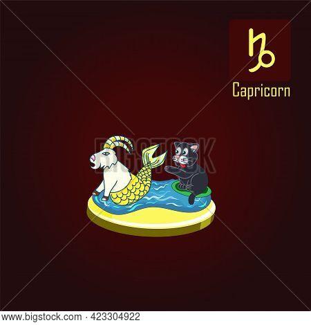 Capricorn Zodiac Sign In The Form Of Cute Cat