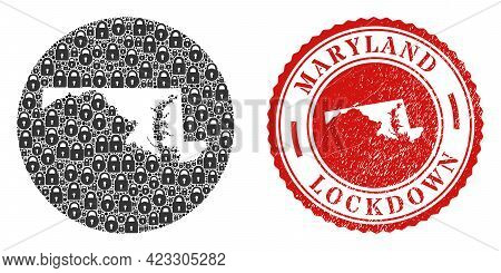 Vector Mosaic Maryland State Map Of Locks And Grunge Lockdown Seal. Mosaic Geographic Maryland State