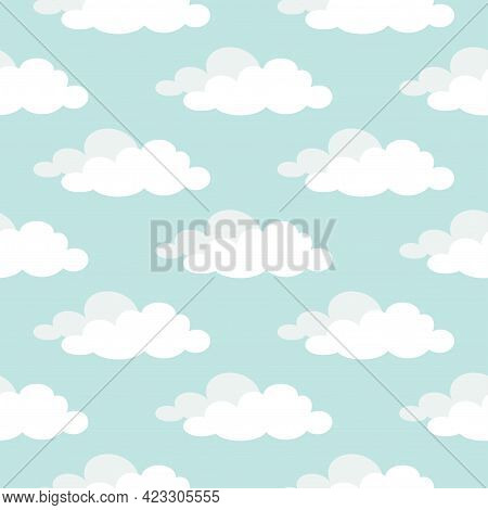 Cute Seamless Ornament With White Clouds On Powder Blue Background. Overcast Pattern. Vector Illustr