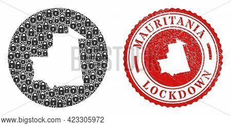 Vector Mosaic Mauritania Map Of Locks And Grunge Lockdown Seal Stamp. Mosaic Geographic Mauritania M