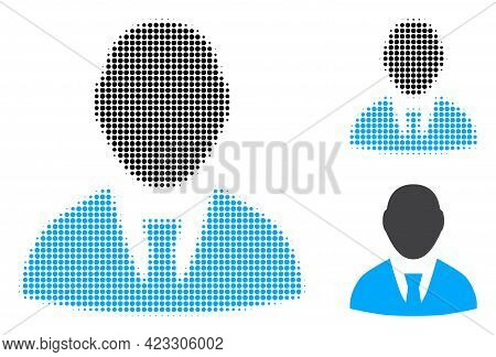Boss Halftone Dotted Icon. Halftone Pattern Contains Circle Elements. Vector Illustration Of Boss Ic