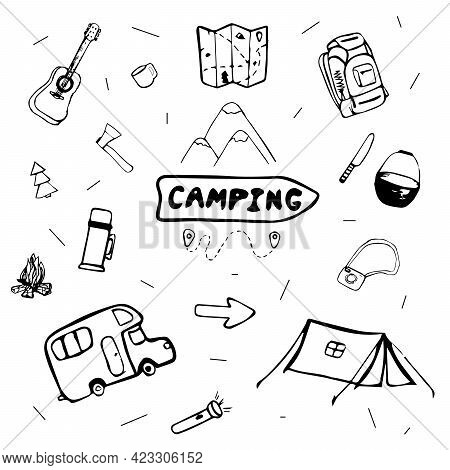 Doodle With Tourism Theme. Trekking In The Forest With A Tent And A Backpack. Backpack Travel Outlin