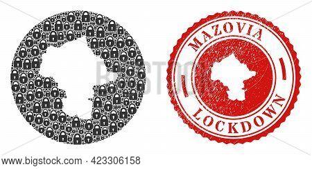 Vector Mosaic Mazovia Province Map Of Locks And Grunge Lockdown Seal Stamp. Mosaic Geographic Mazovi