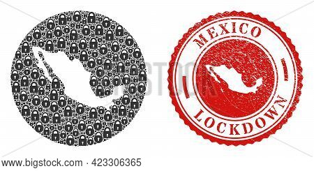 Vector Collage Mexico Map Of Locks And Grunge Lockdown Seal Stamp. Mosaic Geographic Mexico Map Crea