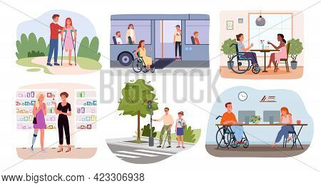 Disabled Handicap People In Lifestyle Scenes, World International Disability Day Set