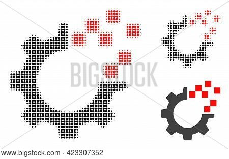 Auto Gear Repair Halftone Dotted Icon. Halftone Array Contains Round Points. Vector Illustration Of