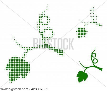 Grape Sprout Halftone Dotted Icon. Halftone Array Contains Round Dots. Vector Illustration Of Grape