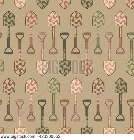 Horizontal Doodle Camo Shovel Seamless Pattern. Camouflage Military Spade Repeat Background. For Scr