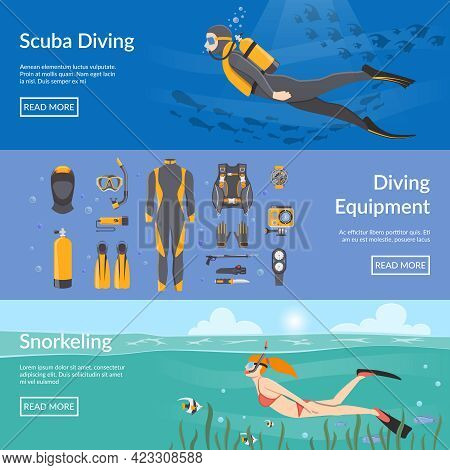 Diving And Snorkeling Advertising Horizontal Banners With Diving Equipment Presentation And People F