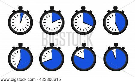 Timers Set On White Backdrop. Web Timer Icon. Modern Vector Design Elements Set. Countdown