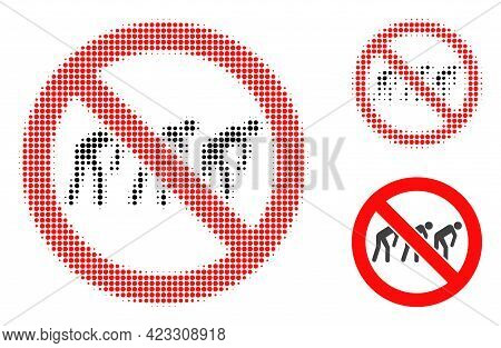 Forbidden Slavery Halftone Dotted Icon. Halftone Pattern Contains Circle Points. Vector Illustration