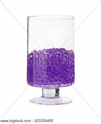 Violet Filler In Glass Vase Isolated On White. Water Beads