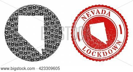 Vector Collage Nevada State Map Of Locks And Grunge Lockdown Seal Stamp. Mosaic Geographic Nevada St