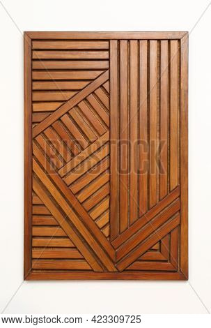 Wooden Wall Panel Isolated On White, Top View
