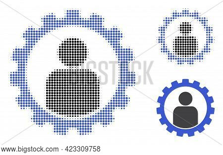 Customer Setup Gear Halftone Dotted Icon. Halftone Array Contains Round Pixels. Vector Illustration