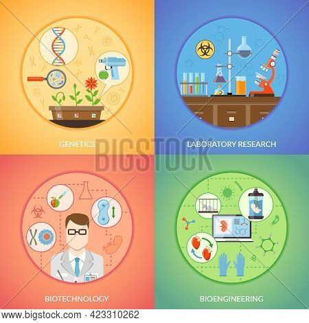 Biotechnology 2x2 Design Concept Set Of Genetics Bioengineering And Laboratory Research Icons Collec