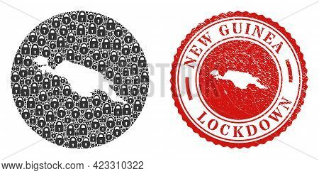 Vector Mosaic New Guinea Map Of Locks And Grunge Lockdown Seal. Mosaic Geographic New Guinea Map Des
