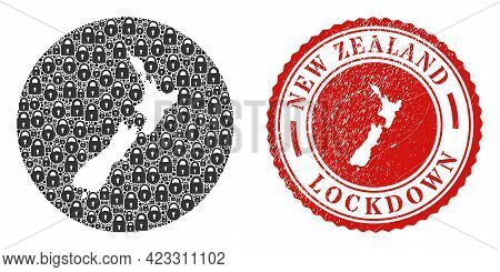 Vector Mosaic New Zealand Map Of Locks And Grunge Lockdown Seal. Mosaic Geographic New Zealand Map D