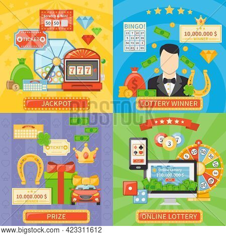 Lottery 2x2 Design Concept Set Of Online Lottery And Jackpot Compositions And Prize And Winner Flat