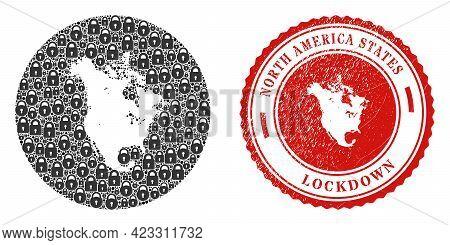 Vector Mosaic North America V2 Map Of Locks And Grunge Lockdown Seal. Mosaic Geographic North Americ